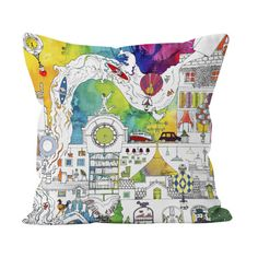 Get lost in Meha's dreamlike Enchanted Village design. Taking inspiration from beautiful suburb of #Didsbury, this surreal cushion design is decorated with cobbled streets, a meandering river and a rock garden filled with exquisite ornamental trees. This detailed illustration is set on a bright watercolour and ink background and will brighten up any room.  #homewear #textiles #softfurnishings Watercolor And Ink, Soft Furnishings, Enchanted, Trees, Lost, Cushions, Textiles, River, Bright
