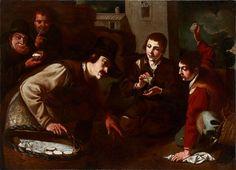 """Jeronimo Jacinto de Espinosa (Alicante 1600 - Valencia 1667) """"Cuatro pícaros timando a un vendedor de quesos de  cassoleta, mientras juegan a la Apatusca"""""""