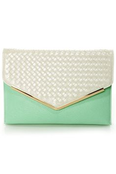 Cute Beige Clutch - Mint Clutch - Basketweave Clutch