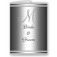 Silver Monogram Wedding Card Invitation