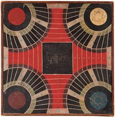 Antiques & Fine Art - Pollack, Frank & Barbara American Antiques & Art - An Imaginative and Dynamic Painted Game Board