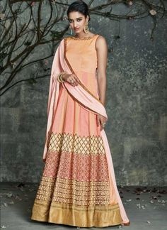 Peach Embroidery Work Silk Fancy Designer Long  Anarkali Gown Suit http://www.angelnx.com/Salwar-Kameez
