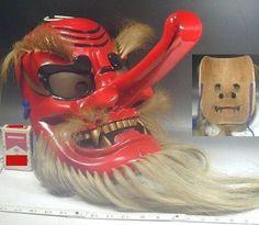 Tengu Mask 266 Large Carved Wood Red Evil Demon Devil Japanese Noh Kabuki Kagura: