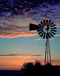 Windmill At Dawn Print by David and Carol Kelly
