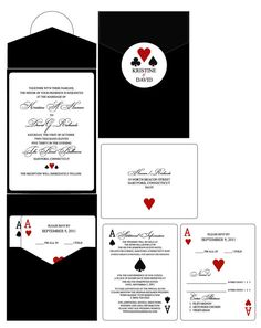 Set of 10 Vegas or poker Themed Wedding or Party  Invitations
