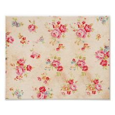 Vintage Shabby Chic Girly Pink Blue Roses Floral Poster
