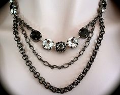 Black crystal necklace - Swarovski - Rivoli - Hematite - Rolo Chain - 3 strands - Rhinestone statement necklace - Designer inspired - Black
