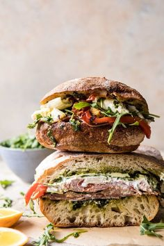 Mozzarella Sandwich with Lemony Basil Pesto. - Antipasto Mozzarella Sandwich with Lemony Basil Pesto Summer Recipes, Healthy Dinner Recipes, Vegetarian Recipes, Cooking Recipes, Keto Recipes, Dishes Recipes, Healthy Food, Panini Recipes, Cooking Kale