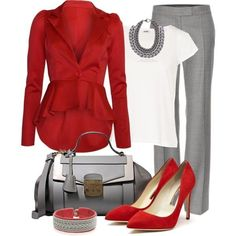 Take a look at 35 grey pants outfits for work you can copy in the photos below and get ideas for your own outfits! Women's Business Casual Fashion… This would be perfect for game day if the blazer was purple! Outfits 2016, Mode Outfits, Fashion Outfits, Fashion Trends, Party Outfits, Office Outfits, School Outfits, Chic Outfits, Fashion Clothes