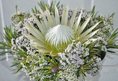 Designs For Garden Flower Beds White King Mixed With Leucadendron And Filler Flowers Arctic Ice, Popular Flowers, White King, Centerpieces, Table Decorations, White Bedding, Flower Beds, Wedding Bouquets, Flora