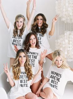 Fun with the bridesmaids: Must-have bachelorette pic with the cutest shirts. www.stylemepretty... | Photography: Allison Kuhn - allisonkuhnphotog...