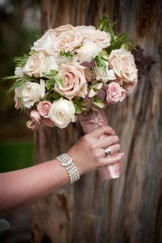 Dusty Rose, Blush, Champagne and Ivory wedding flower bouquet, bridal bouquet, wedding flowers, add pic source on comment and we will update it. www.myfloweraffair.com can create this beautiful wedding flower look.