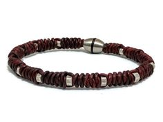 Leather macrame bracelet mens bracelet brown by LuckyBeadsBox