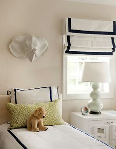 Valance / Cornice Box with Roman Shade | White Navy