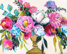 Brooke Ring is a southern artist working in Greenville, South Carolina. Brooke is known for painting colorful florals, coastal scenes, and figures. Flower Painting Canvas, Pink Painting, Diy Canvas Art, Floral Paintings, Acrylic Flowers, Abstract Flowers, Bohemian Flowers, Flower Art, Artwork