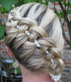 French braid with pearls homecoming hairstyle