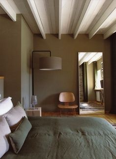 Nice use of color...painted beams to match the ceiling
