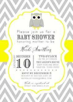 PRINTABLE Gray and Yellow Owl Chevron Baby Shower Birthday or Gender Reveal Invitation - colors can be changed on Etsy, $15.00