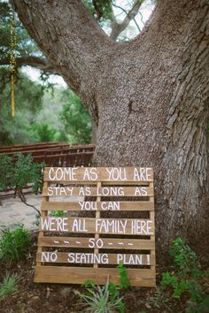 Ceremony Wedding Sign on a pallet. You can find them for free at home depot