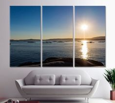 Sunrise Wall Art Beach Canvas Prints Ocean Home Gift Dramatic Landscape Home Decor Boats Photo Sea Framed Art Gallery Wrapped Canvas by ArtWog Beach Canvas, Beach Wall Art, Office Wall Decor, Office Walls, Ocean House, Beach Print, Nature Decor, Rest Of The World, Home Gifts