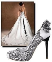 bride - black and white gown and matching lace covered shoes
