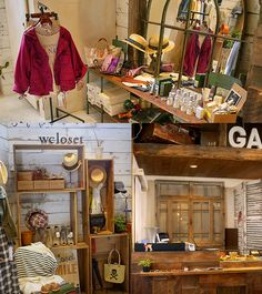 W Closet Japanese Boutique in Tokyo Shibuya store display and counter space woodsy and hippie chic