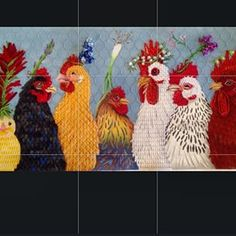 Great piece, great stitches!, Vicki Sawyer chickens, needlepoint canvas from Melissa Shirley