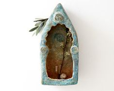 Shrine Cabinet | Oriental Blue | Large | Memorial | Spiritual | Sanctuary | Blue | Rustic