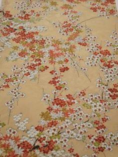 "Japanese Kimono silk FABRIC Cream-Beige, Maple, Plum blossom, 47"" G3 $11"