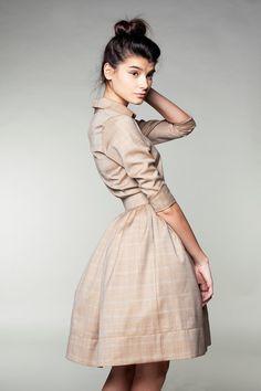 This dress is so chic! Beige Woolen Dress by Mrs Pomeranz by mrspomeranz on Etsy, £295.00