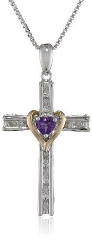 "XPY Sterling Silver and 14k Gold Amethyst Heart and Diamond-Accent Cross Pendant Necklace, 18"" - $64.99 www.jewelryandwatches.co.za"