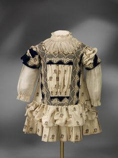 English silk child's dress, c.1885
