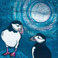 Louise Worthy 'Moonlight Rendezous' Ink Monotype