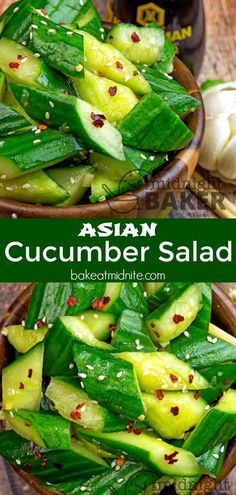 This cucumber salad is bright and refreshing with a hint of nuttiness from sesame! Cooling and perfect for a summer BBQ #sidedish #cucumbers #salad #easyrecipes #bbg
