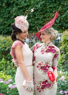 You look great. No, YOU look great: Friends admire each other's outfits as they prepare to enjoy Ladies Day at Ascot