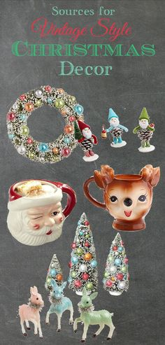Your guide to finding vintage Christmas decor reproductions at big chain stores. No need to spend all your time scouring estate sales anymore! Christmas Where To Buy Reproduction Vintage Christmas Decorations Vintage Christmas Crafts, Christmas Decorations For The Home, Vintage Ornaments, Christmas Love, Vintage Holiday, Winter Christmas, Holiday Fun, Christmas Ideas, Christmas Music