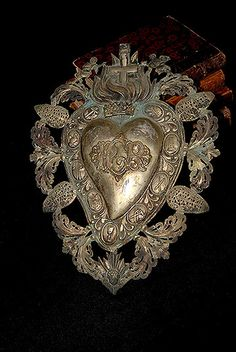 """Italian Antique Silver Sacred Heart Ex-Voto """"PGR"""" Angels and Crown"""