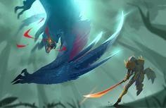 Nargacuga Hunt [Monster Hunter] by kinsei