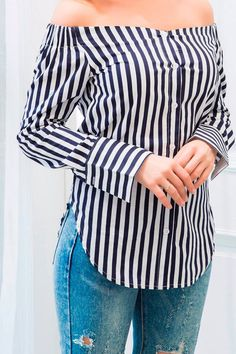 This striped shirt featuring off the shoulder silhouette and long sleeves styling is an absolute essential for any girl's wardrobe Shirt Refashion, Diy Shirt, Blouse Styles, Blouse Designs, Diy Fashion, Fashion Outfits, Womens Fashion, Old Shirts, Clothing Hacks