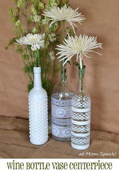 Boho Wine Bottle Vase Centerpiece
