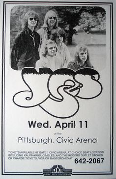 Yes Live at the Pittsburgh Civic Arena Wed. April 11 by Innerwallz, $15.00