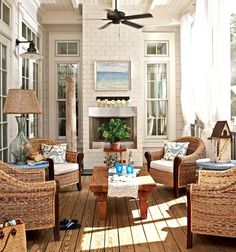 porches with wicker chairs | seating - cozy wicker chairs - summer porch and patio decor. Love the set up!