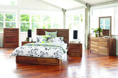 Seattle Tallboy Suite by Morgan Furniture from Harvey Norman NewZealand The Seattle bedroom furniture is crafted from Walnut veneer with felt lined drawers. The bed frame also features super handy drawers for extra storage.