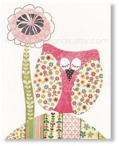 Painted owl, fabric wings. Good idea.