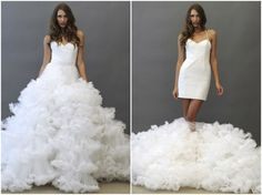 Love it!    A 'two in one' wedding dress with detachable ruffly skirt!  Jaden by Hayley Paige