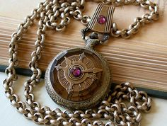 Steampunk Pocket Watch Pendant Necklace - Antiqued Brass and Silver - Vintage Style Men Women Victorian Gothic Locket Jewelry