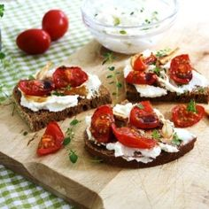 Slow-roasted cherry tomatoes and garlic with herbed ricotta & balsamic ~ taking bruschetta to a whole new level!