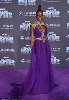 Lupita Nyong'o dons purple dress at Black Panther premiere   Daily Mail Online