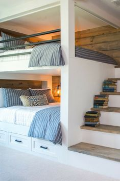 Bunk beds design and room ideas. Most amazing bunk beds for kids. Designing bunk beds that you might like. Bunk Bed Rooms, Bunk Beds Built In, Bunk Beds With Stairs, Boys Bunk Bed Room Ideas, Adult Bunk Beds, Bunkbeds For Small Room, Teen Bunk Beds, Loft Bedrooms, Modern Bunk Beds