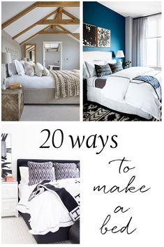 20 ways to make a bedMatching white hotel linens (duvet, sheets, shams) with dark blanket for warmth in the same color as the thread, plus two high contrast lumbar accent pillows. Bedroom Bed, Guest Bedrooms, Dream Bedroom, Master Bedroom, Bedroom Decor, Nice Bedrooms, Bedroom Ideas, Bedroom Designs, Bedroom Inspiration